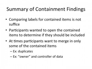 Summary of Containment Findings