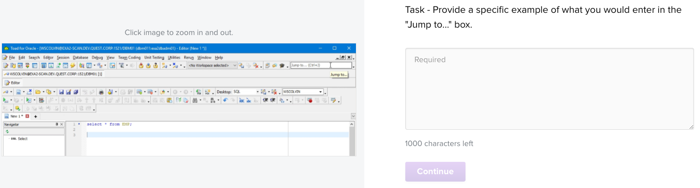 """Provide a specific example of what you would enter in the """"Jump to..."""" box."""